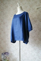 PLUS SIZE linen tunic Over-sized Blue tunics Summer Natural linen clothing NWT image 3