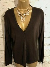 Ann Taylor Ladies Brown Silk & Cotton V Neck Cardigan Size M UK 12 EU 40... - $50.43