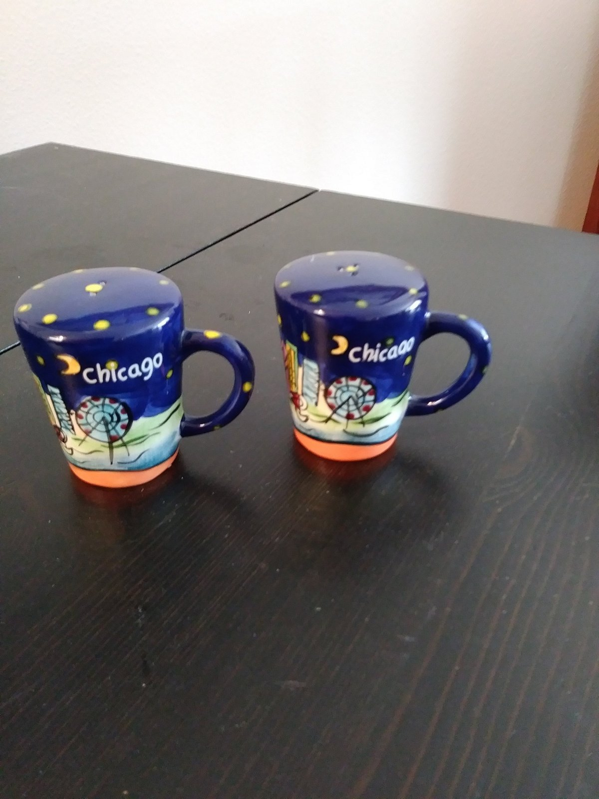 Chicago Dark Blue Porcelain Salt & Pepper Pepper Shakers