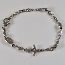 Silver Bracelet 925 Rhodium Adjustable with Anchor Shaped Glossy and Satin image 1