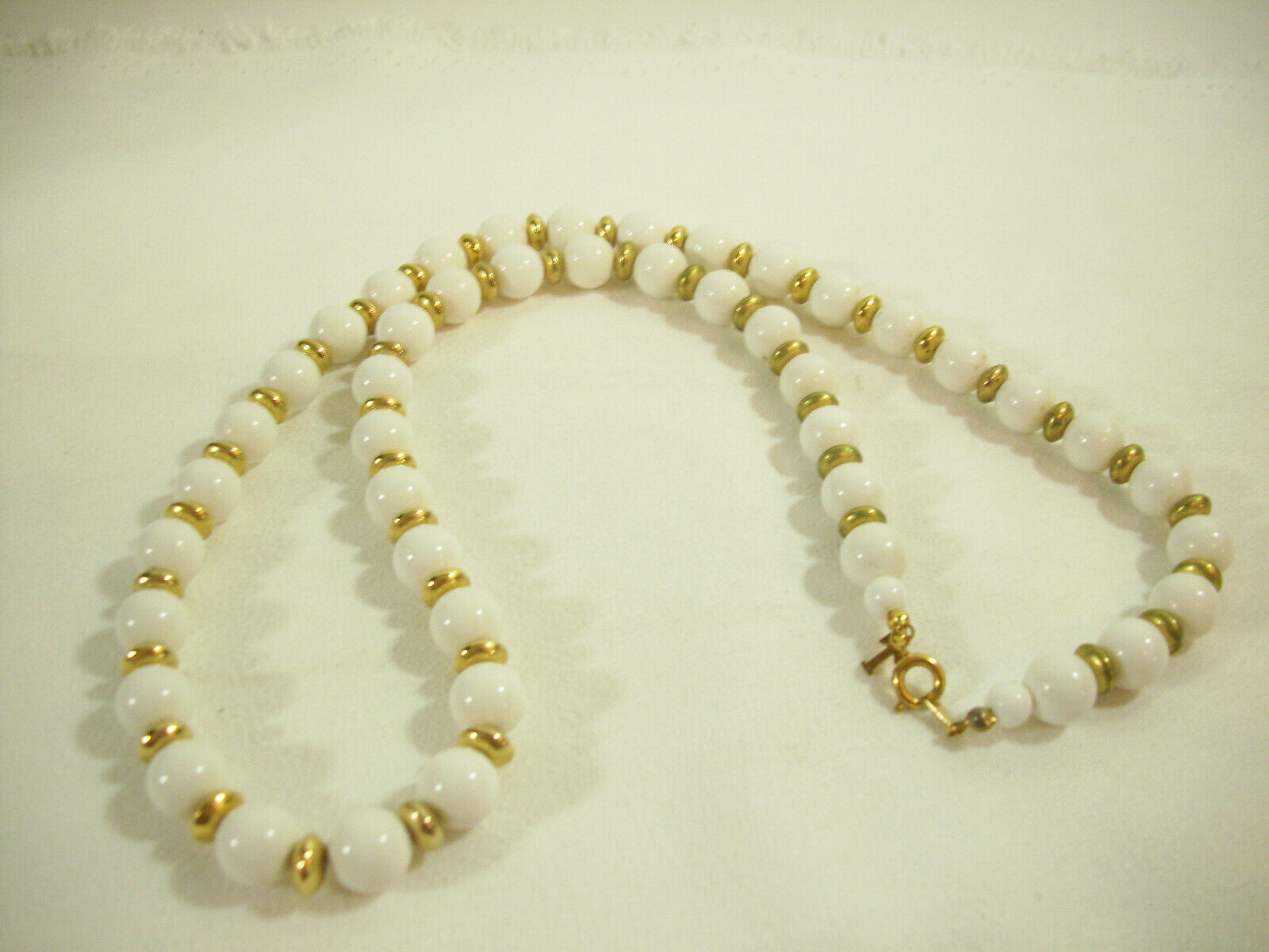 Trifari White Beads Gold Plate Spacers Necklace Strand String Elegant Classic image 5