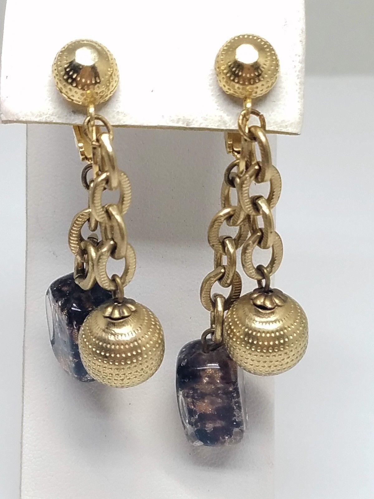 Crown Trifari Clip On Vintage Hanging Earrings