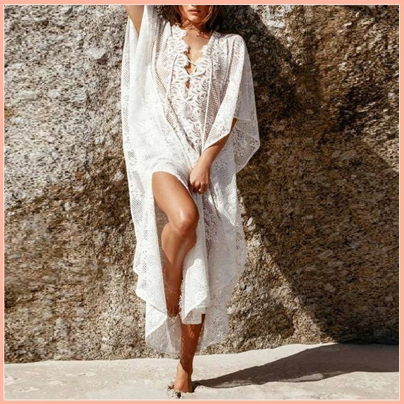 Primary image for Bohemian Style Crochet Flower Lace Flirt Shirt Long Cover Up Beach Tunic