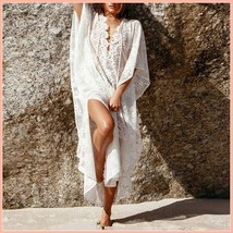 Bohemian Style Crochet Flower Lace Flirt Shirt Long Cover Up Beach Tunic  - $68.95