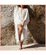 Bohemian Style Crochet Flower Lace Flirt Shirt Long Cover Up Beach Tunic  - $68.95