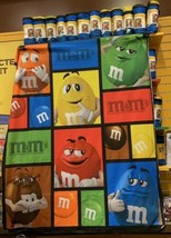 "5 M&M's World Big Face Characters Fleece Blankets 59x60"" Times Square Co... - $59.39"