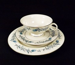 Theodore Haviland  Clinton 3 Piece Cup Saucer Plate Set Blue Floral Gold... - $17.49