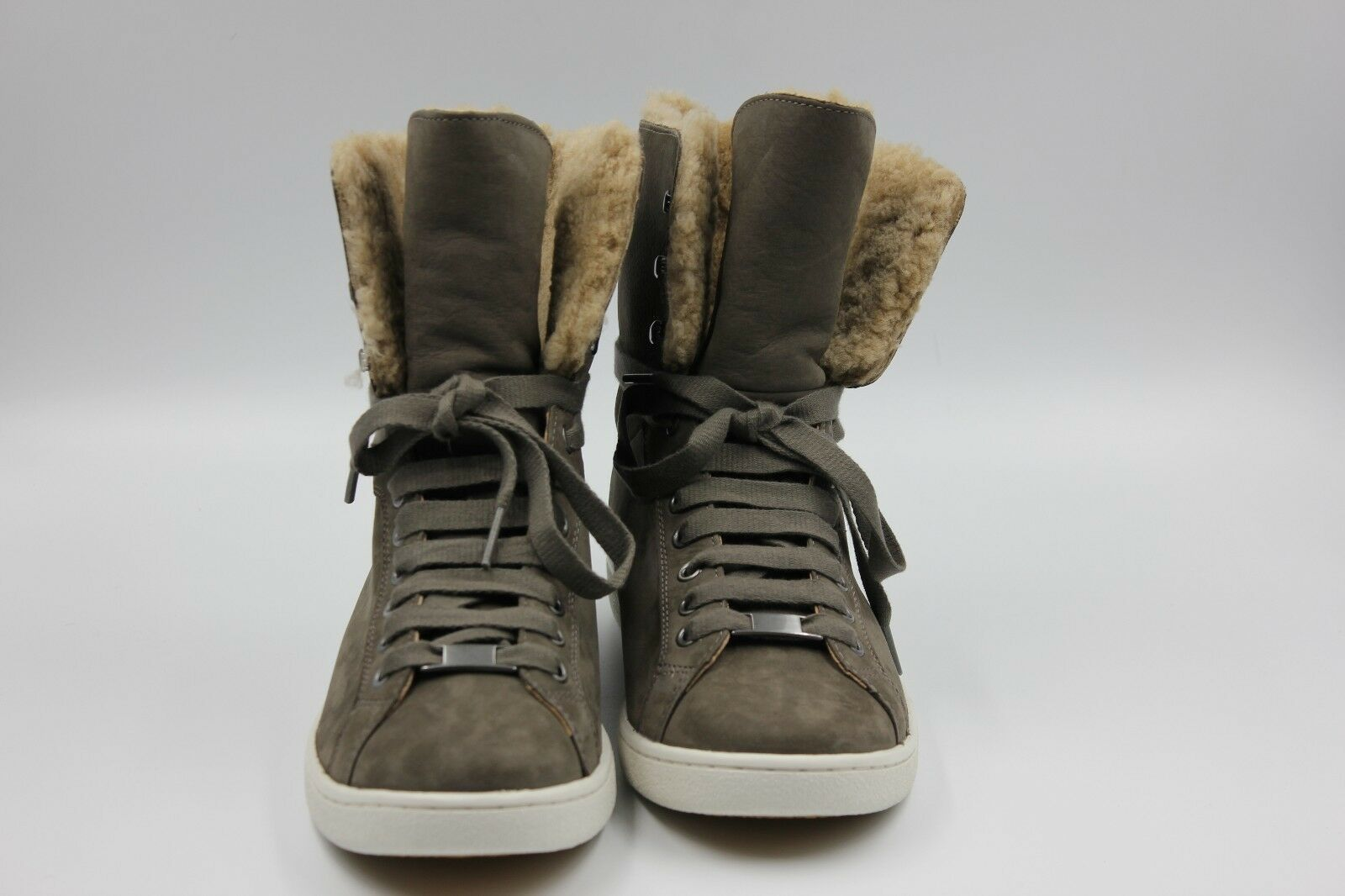 Ugg Starlyn Australia Sheepskin High Top ankle Sneakers in Mouse Nubuck new