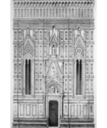 ITALY Florence Cathedral Part of Side Facade  - SUPERB 1843 Lithograph  ... - $25.20