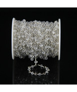 Natural Crystal 3-4 MM Rosary Beaded Silver Plated Chain For Jewelry - $15.32+