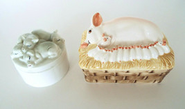 Vintage Pig Trinket Jewelry Boxes 1980 Enesco Fitz Floyd Hand Painted Es... - $26.11