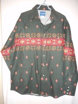 Wrangler Size XL Western Shirt Green Orange Pearl snap buttons 100% cotton - $39.59