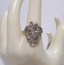 Ladies Face Ring Sterling Silver Art Nouveau Style Size 7 - $49.49