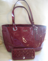 AUTH COACH F17729 Red Embossed Patent Leather LRG Tote Bag + Matching Wa... - $221.76
