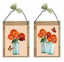 Orange Flower Pictures Polka Dot Butterflies Mason Jars Wall Hangings Pl... - $7.99+