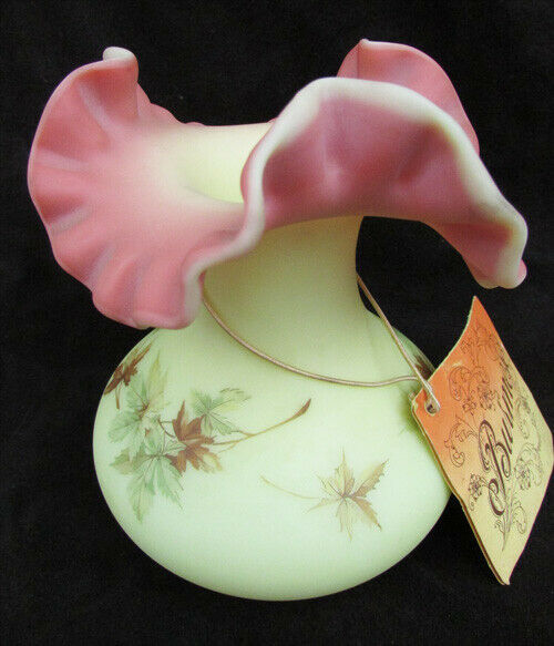 Primary image for Fenton Burmese vase autumn leaves custard pink double crimped ruffled top