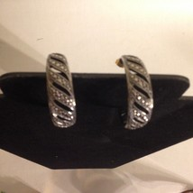 "Vintage Pierced Hoop Earrings Silver Tone Black Enamel Swirls 1 1/2"" - $14.22"