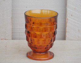 Old Vintage Footed Tumbler Whitehall Amber Pattern Stacked Cube Design b... - $9.89