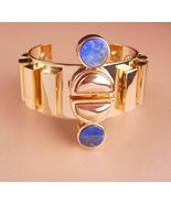 Fabulous Lapis Bracelet / Egyptian revival / wide deco style gold cuff /... - $165.00