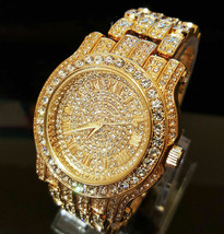 Men Hip Hop Iced out Gold Tone Techno Pave Bling Simulated Diamond Rappe... - $19.29 CAD