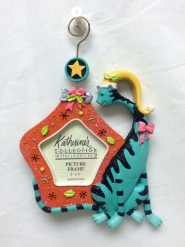 Primary image for Katherine's Collection Aqua Cat Orange Picture Frame Ornament