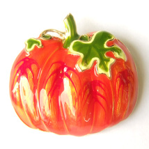 Red Orange Pumpkin Halloween Green Leaf Lovely Fun Cool Sparkle Brooch P... - $8.99