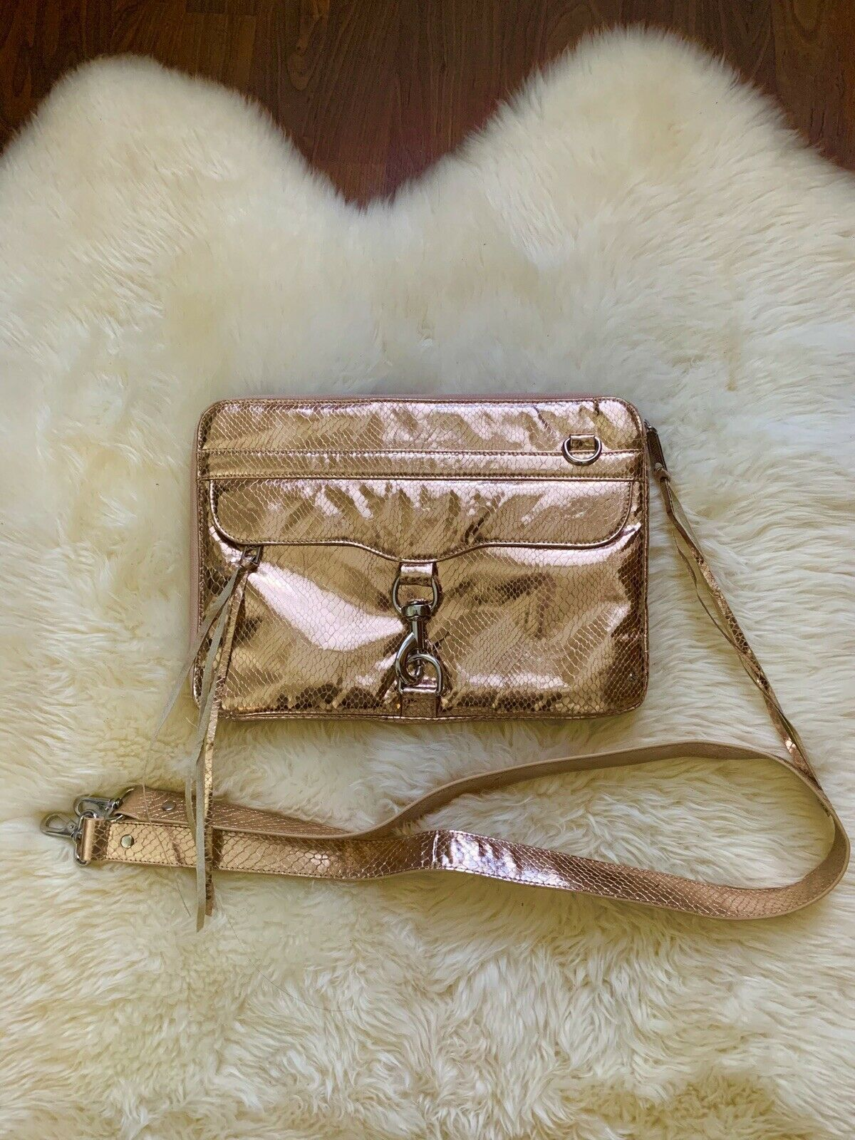 "Primary image for Rebecca Minkoff Rose Gold Metallic 13"" Laptop Crossbody Bag"