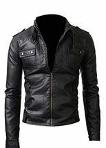 Strap Pocket Slim Fit Synthetic Leather Black Jacket image 1