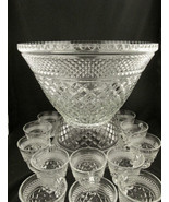 Vintage Wexford Glass Punch Bowl Set - 18 cups, Hooks & Ladle By Anchor ... - $83.22