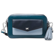 Michael Kors Tri Color Camera Crossbody Bag, Luxe Teal/Admiral/Pale Blue... - $141.75