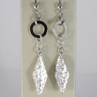 925 STERLING SILVER PENDANT EARRINGS CIRCLE AND STAR WORKED 2.2 INCHES LONG