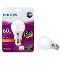 2 Bulbs Philips LED 60W Equivalent Soft White Dusk-Till-Dawn A19 Bulb 46... - $17.94