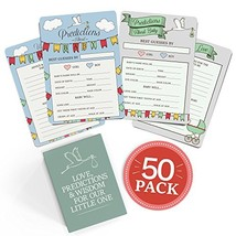 Baby Shower Advice + Prediction Cards (50 Pack). Keepsake & Game for New... - £9.37 GBP