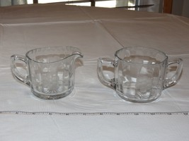 Etched Glass Creamer and Sugar Bowl Set clear glass - creamer has chips ~ - $17.81