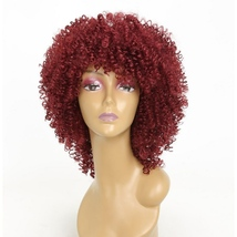 Loose Curls Synthetic Wigs for Women Short Curly Hair With Bangs Burgund... - $17.00