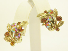 LISNER Gold AMBER Aurora Borealis Rhinestone Flower Leaves Clip Earrings... - $23.75