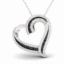 IGI Certified S925 Sterling Silver 0.03ct TW Black Diamond Heart Necklace - $118.79