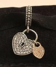 Authentic Pandora Love Locks Hanging Heart Pandora Two Tone & Clear CZ Charm - $55.99