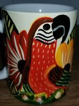 Panama Macaw Parrot Flower Ceramic Coffee Mug Tea Cup Hand Painted - $20.00