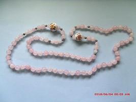 "Vintage 32"" Rose Quartz Hand Knotted Beaded Necklace - $39.00"