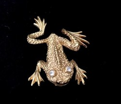 Costume Jewelry Jumping Frog Pin Brooch Designer Signed S Gold Tone Rhin... - $13.98