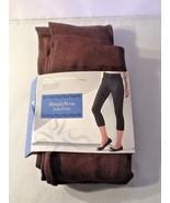 Vera Wang Simply Vera Cotton Capri Leggings Low Rise Sz L Brown - $19.99
