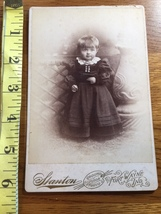 Cabinet Card of Cute Young Girl Black Dress & Lace Collar Ind. Studio 18... - $9.00