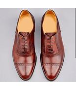Customized Men's Brown Color Leather Shoes, Men's Cap Toe Lace Up Formal... - $149.99+
