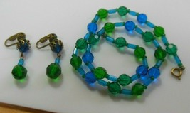 Vintage Signed Germany Blue & Green Glass Bead Necklace & Earring Set - $28.50