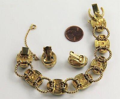 VINTAGE Jewelry SWOBODA SIGNED JADE CABOCHON CLIP EARRINGS & BRACELET SET