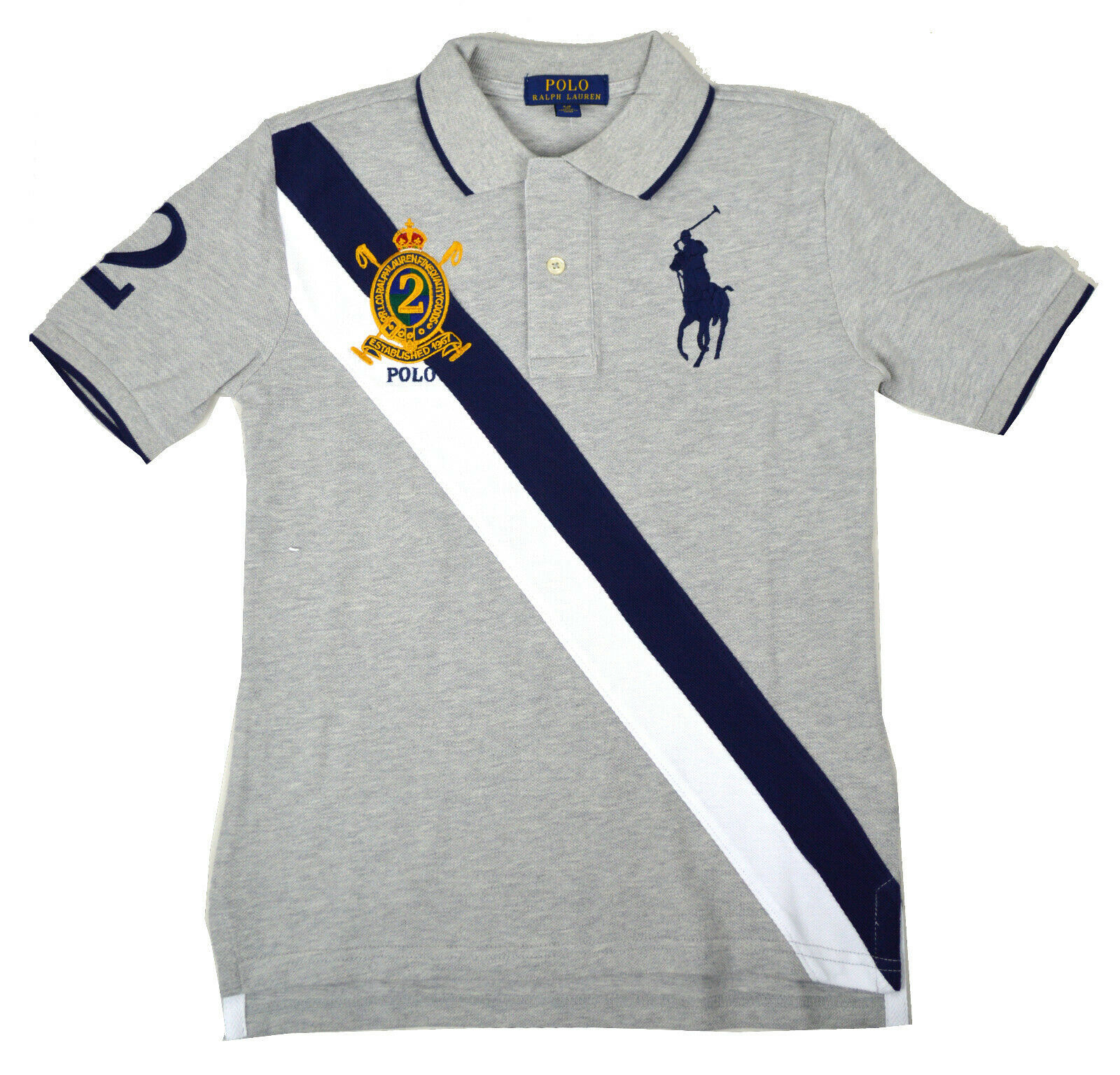 Polo Ralph Lauren Boys Kids ClassicFit Big Pony BannerStripe,L(14-18)Grey 9596-1