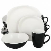Gibson Home Tristen 16 Piece Soft Square Dinnerware Set in Matte White a... - $74.79
