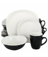 Gibson Home Tristen 16 Piece Soft Square Dinnerware Set in Matte White a... - $74.79