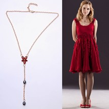 Harry Potter Hermione Gold Red Zircon Crystal Rhinestone Pearls Costume Necklace - $13.99
